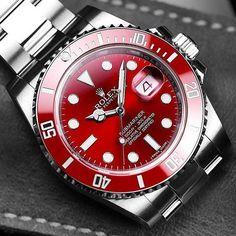 Stunning Rolex Submariner with a Red Dial & Bezel - Courtesy of by luxurylifestylemagazine Rolex Datejust, Rolex Submariner Gold, Army Watches, Sport Watches, Rolex Watches, Best Watches For Men, Cool Watches, Bmw X7, Rolex Explorer
