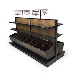 "Wine Island Display Shelving 96""W x 41""D x 54""H with shelves, wood bin shelves and custom aisle marker signs"