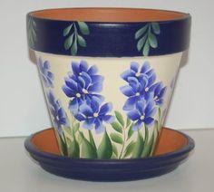 "Painted Flower Pots | Roses & Blue Flowers"" clay flower pot."