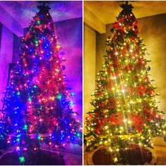 Which do you prefer on your tree? Coloured lights or white lights. Comment below. White Light, Handmade Jewelry, Christmas Tree, Lights, Holiday Decor, Unique, Color, Design, Home Decor