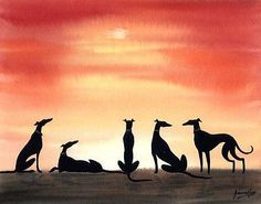 ORIGINAL PAINTING GREYHOUND LURCHER WHIPPET DOG 6684 Dianne Heap SUNSET GALGO
