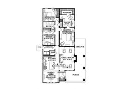 3 bed 2 bat h floor plan.  Would get rid of the non master bedrooms.  Move the master bath suite to the 1st bed location and add stairs to upper master suite