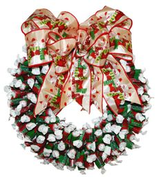 These Tootsie Rolls have been dressed up for the holidays in red & green wrappers and make a beautiful candy wreath for the holidays. Description from abountifulharvest.com. I searched for this on bing.com/images