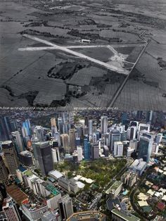 Dito, Noon: Ayala Triangle Gardens, Makati, 1937 x 2010s. #kasaysayan -- In the middle of Hacienda de San Pedro de Macati of the Zobel de Ayala family, Nielsen Airport was the center of air travel before WWII. The airport was decomission in 1948; and was returned to the Ayalas for development. The runways were converted into roads which now form the Triangle's boundaries: Ayala Ave (SW), Paseo de Roxas (NE) and Makati Ave (SE) -- and was called Ugarte Field. The area is now an urban park. Philippines Culture, Manila Philippines, Makati City, Filipino Culture, Filipiniana, Urban Park, Air Travel, Old Skool, Present Day