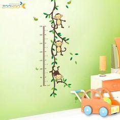ZooYoo Original Playing Monkey Tree Height Wall Art Stickers Kids Nursery Removable Decor