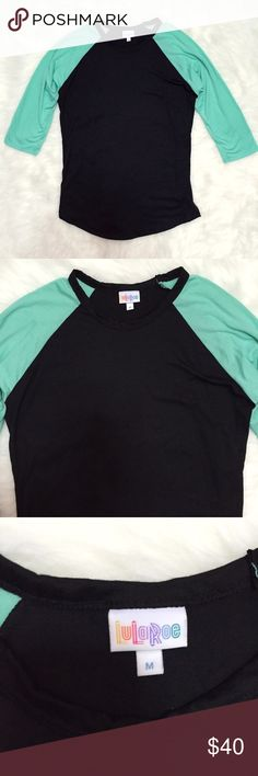 LuLaRoe Randy Green & Black Baseball Tee Brand new WITHOUT tags, never worn, size Medium. Love the color combination of this LuLaRoe Randy Green & Black Baseball Tee Shirt. A gorgeous mint aqua green color on the sleeves and black on the body. So soft and comfortable! 3/4 sleeves. This color combination is rare and hard to find! LuLaRoe Tops Tees - Long Sleeve
