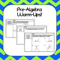 Pre-Algebra Warm-Ups (and student template) that are ready to use in the middle school math classroom! Math Tutor, Math Teacher, Math Classroom, Teaching Math, Classroom Ideas, Future Classroom, Algebra Activities, Learning Activities, Maths