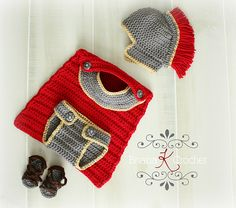 Ravelry: Newborn Gladiator/Roman/Greek/Spartan Warrior Outfit pattern by Briana K Crochet  I wish I knew someone who was having a baby boy so I could make this!!!