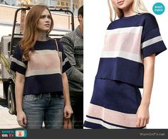 Lydia's navy and pink colorblock top on Teen Wolf. Outfit Details: https://wornontv.net/63438/ #TeenWolf