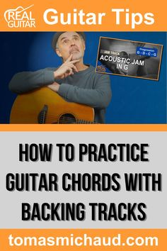 Practicing guitar chords to backing tracks is one of the best ways to learn to play guitar chords. Besides being more fun than practicing with a metronome, it's a great way to practice all of the techniques you've learned over the years. Timing and rhythm are something guitar players are notorious for lacking, and playing guitar along with a backing track is a great way to build a sense of timing and rhythm. In this guitar lesson, you will learn my step-by-step process. Play Guitar Chords, Learn Acoustic Guitar, Learn To Play Guitar, How Its Going, Going To Work, Guitar Online, Guitar Notes, Guitar Lessons For Beginners, Cool Electric Guitars