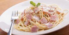 Recette de Spaghetti légères à la carbonara, sauce au fromage blanc 0%. Facile et rapide à réaliser, goûteuse et diététique.