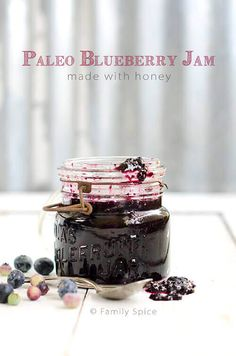 You do not need refined sugars to make jam. This Paleo Blueberry Jam is perfection and sweetened with honey - by FamilySpice.com