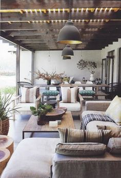 Outdoor Living Back Patio. Fabulous fabrics & lights!