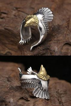 Men's Sterling Silver Eagle Wrap Ring - Men's style, accessories, mens fashion trends 2020 Jewelry Accessories, Fashion Accessories, Jewelry Design, Fashion Jewelry, Male Jewelry, Mens Fashion Rings, Fashion Men, Mens Silver Jewelry, Men's Jewelry Rings