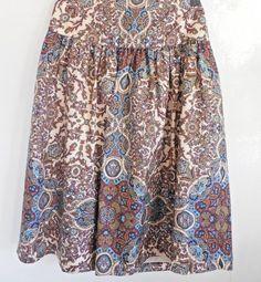 Banana Republic Silk Paisley Boho Career Casual Cute Fit & Flair Skirt Size 0  #BananaRepublic #Tiered