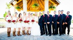 Canada Day Wedding: Red and White Bridal Party