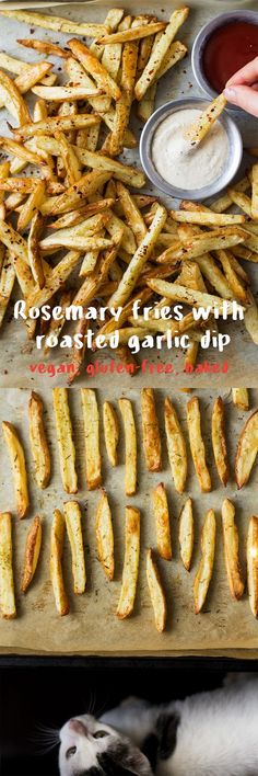 These rosemary fries come with an addictive roasted garlic dip. They are super easy to make crispy and indulgent despite being baked. Vegan gluten-free.