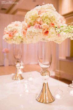 Christina & Anthony | Florals & Decor: Royal Orchid Florist | Pink Decor | Tall Flower Arrangement | Pink & Cream