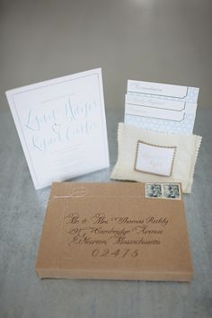 Love the packaging and of course, the calligraphy.  Photo by Meredith Perdue of & unlimited via Elizabeth Anne Designs.