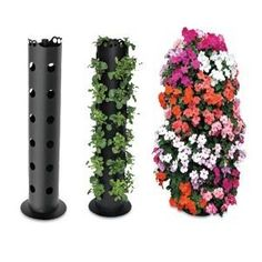 """DIY Flower Tower Kits and how to build your own flower towers from 6"""" PCV pipe and plastic tubing. How to build it, what plants to use and more #flowertower #pvcpipeverticalgarden #gardenstick"""