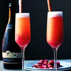 Rhubarb Bellini Recipe Beverages, Cocktails with rhubarb, sugar, prosecco