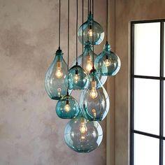 Image result for beach glass pendant light