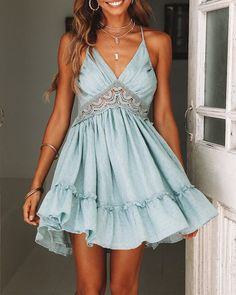 Deep V Neck Embroidery Lace Tiered Ruffle Dress Open Back, SUMMER OUTFİTS, teal ruffle flowy dress lace embroidery patchwork v neck cami short dress tie back tiered ruffle mini dress backless Hoco Dresses, Homecoming Dresses, Cute Dresses, Casual Dresses, Prom, Casual Outfits, Lace Summer Dresses, Flower Dresses, Baby Blue Homecoming Dress
