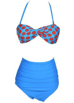 Polka Dot Tops with Blue Thong Two Pieces Swimwear Item ID 140420101-8 Gross weight:280Gram Shop Price:USD 9.60