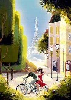 A bike ride through Paris~ (Miraculous Ladybug, Adrien, Marinette, Adrinette)