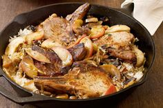 This simple skillet dinner has all the flavour of a slow-cooked roast, complete with tender apples, without any of the fuss.