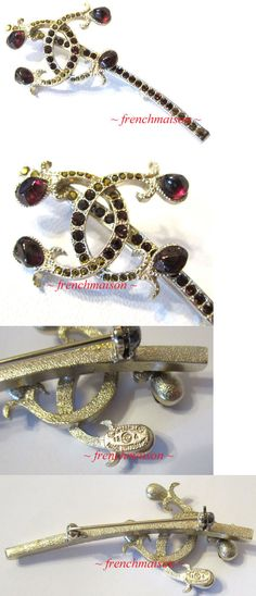 Pins and Brooches 50677: Authentic Chanel Cc Logo Red Golden Crystal Exquisite Pin Brooch New Rare BUY IT NOW ONLY: $750.0
