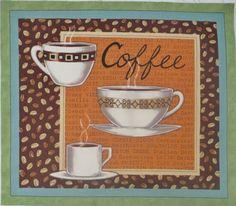 "Wake Up Coffee Mug Cup 10"" x 11.5"" Quilt Block Square Moda Deb Strain Fabric"