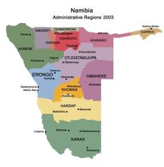 Namibia Travel Information: Map of Administrative Regions