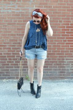 Fluttering Free People blouse + booties + distressed denim cut off shorts