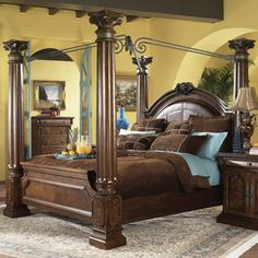 Ashley Furniture Millennium King South Shore Poster Canopy Bed French