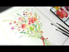 Painting Flowers - How to paint a flower bouquet with watercolors - YouTube