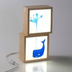 Infantile Lightbox 'blue whale', Hand painted Lightbox for the kids, Ideal for personalized decoration.