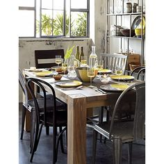 """Big Sur Natural 65"""" Dining Table. Good image of potential chair pairings"""