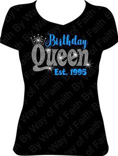 BIRTHDAY QUEEN Bling Rhinestone Glitter T Shirt Birthday Girl Gift For Her Diva Est Tee Crown Custom