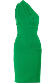 Preen Plaza Oneshoulder Stretchcrepe Dress in Green | Lyst