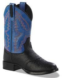 Old West Round Toe Boots: Black Shrunken Grain/Blue - SPECIAL ORDER - Small in the Saddle
