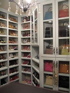 More closets because I'm obsessed with closets because I'm addicted to shopping!!!! Love the section for purses!!