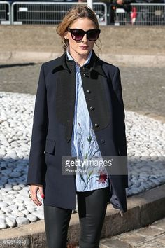 Olivia Palermo arrives at the Miu Miu show as part of the Paris Fashion Week Womenswear Spring/Summer 2017 on October 5 2016 in Paris France