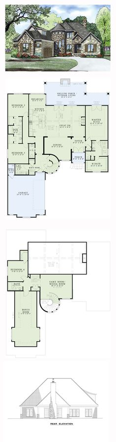 French Country House Plan 82165 | Total Living Area: 3083 sq. ft., 4 bedrooms and 3.5 bathrooms. #frenchcountryhome