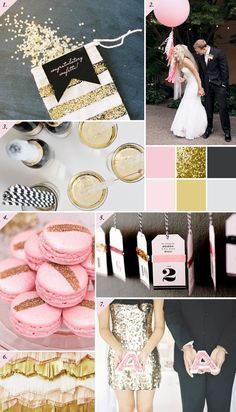 pink, gold & charcoal wedding inspiration board | Best Day Ever