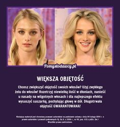 PROSTY I SKUTECZNY TRIK NA ZNACZNIE WIĘKSZĄ OBJĘTOŚĆ TWOICH WŁOSÓW! Diy Beauty, Beauty Hacks, Hair Hacks, Health And Beauty, Life Hacks, Hair Care, Good Things, Face, Design Ideas