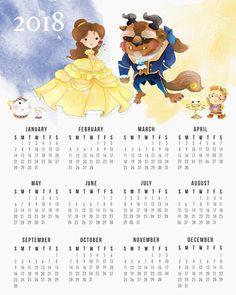 Calendario 2018 de la Bella y la Bestia para Imprimir Gratis.