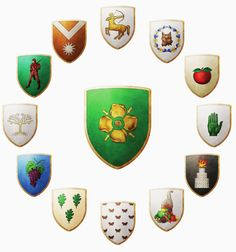 The World of Ice and Fire - The arms of House Tyrell (center) and some houses of… Game Of Thrones Map, Game Of Thrones Artwork, Game Of Thrones Quotes, Game Of Thrones Personajes, Norman, Medieval Shields, Fantasy Literature, Game Of Thones, House Games