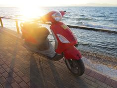 Vespa at Sunset Vespa, Motorcycle, Adventure, Sunset, Vehicles, Wasp, Sunsets, Hornet, Vespas