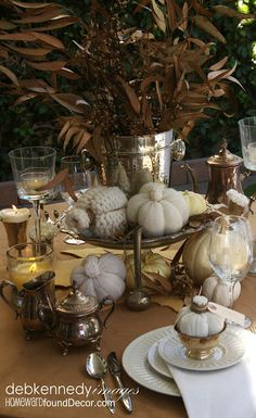 Vintage Silver Thanksgiving Tablescape